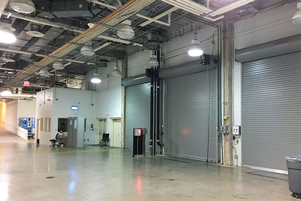 Inside Arena building at the loading dock area