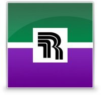 r in a green and purple box